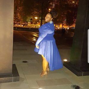 Sexy Diva Dresses - Blue high low dress